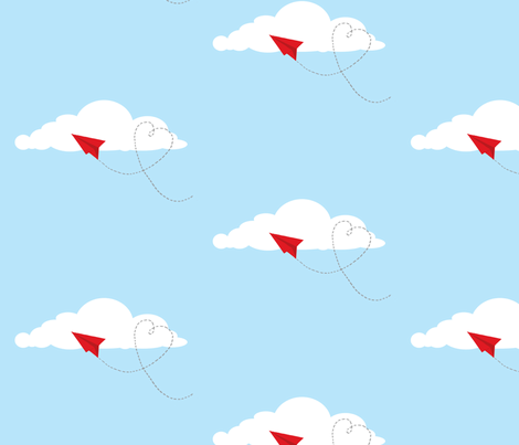 love and paper airplanes (sky blue) fabric by amybethunephotography on Spoonflower - custom fabric