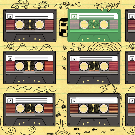 Cassette Tapes fabric by dorolimited on Spoonflower - custom fabric