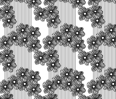 LINES & DAISIES black/white fabric by heatherrothstyle on Spoonflower - custom fabric