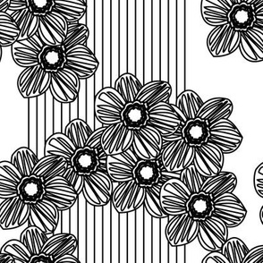 lines & daisies B&W