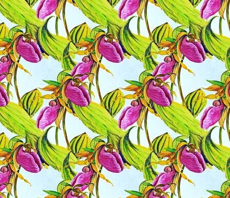 Pink Lady Slippers fabric by helenklebesadel on Spoonflower - custom fabric