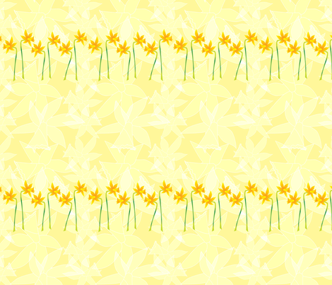 Daffodils in a row.  Copyright LdJ design 2010 fabric by ldj_design on Spoonflower - custom fabric