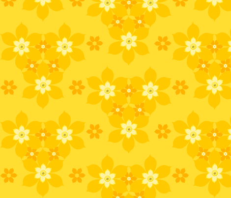 vintage daffodils fabric by elvett11 on Spoonflower - custom fabric