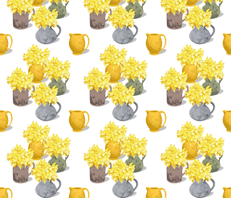 Jugs of Daffodils fabric by meredithjean on Spoonflower - custom fabric