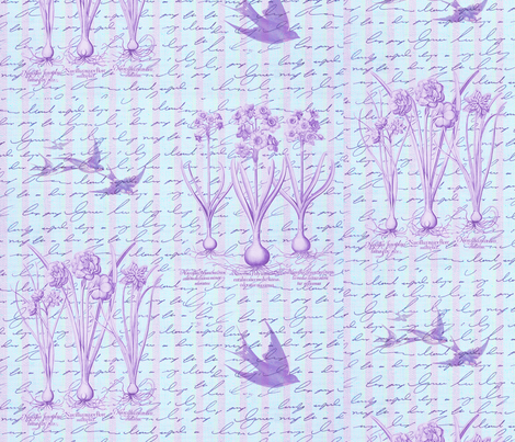 Garden with Swallows fabric by dentednj on Spoonflower - custom fabric