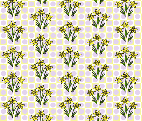 My Three Daffodils Lavender fabric by kdl on Spoonflower - custom fabric