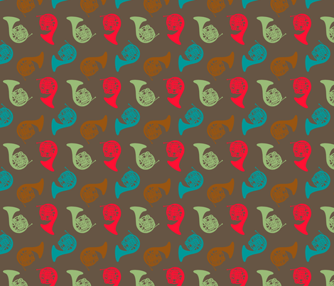 Multi Color French Horns fabric by marchingbandstuff on Spoonflower - custom fabric