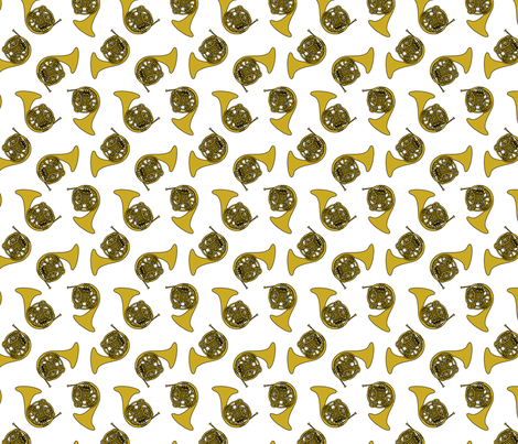Gold French Horns fabric by marchingbandstuff on Spoonflower - custom fabric