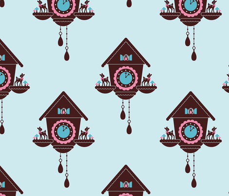 Cuckoo Clock fabric by kipikapopo on Spoonflower - custom fabric