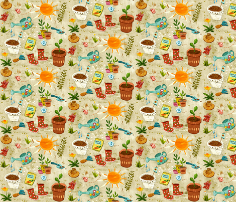 Happy Gardening fabric by chesirella on Spoonflower - custom fabric
