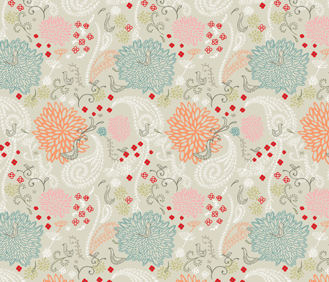 Flower's Scent fabric by littlelionstudio on Spoonflower - custom fabric