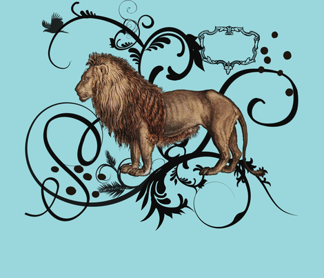 Vintage Lion 21x21 fabric by dentednj on Spoonflower - custom fabric
