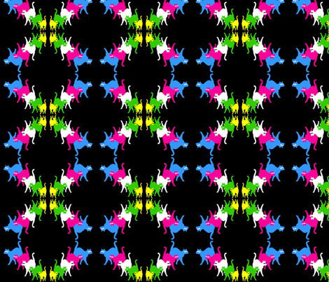 KOOL-KATS-BLK fabric by pjay on Spoonflower - custom fabric