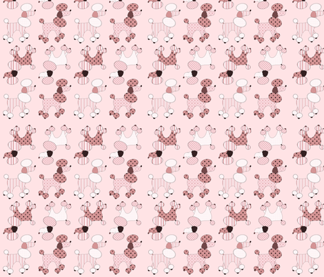 Pink Poodles On Parade fabric by 13blackcatsdesigns on Spoonflower - custom fabric