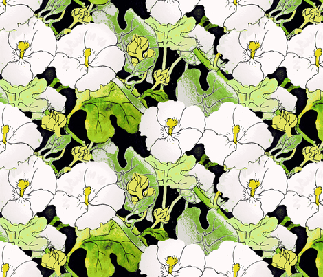 White HollyHocks fabric by helenklebesadel on Spoonflower - custom fabric