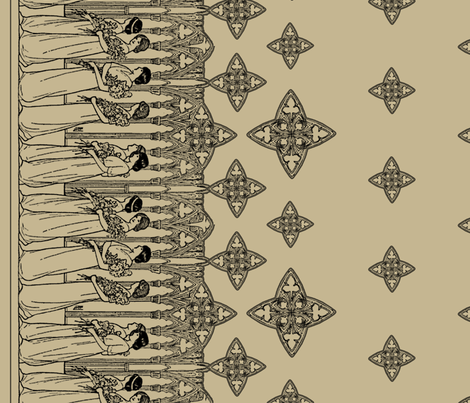 Maiden Border (antique light) fabric by ophelia on Spoonflower - custom fabric