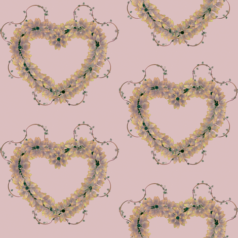 Floral_Hearts_Lavendar fabric by patsijean on Spoonflower - custom fabric