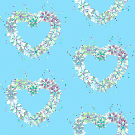 Floral_Hearts_Blue fabric by patsijean on Spoonflower - custom fabric