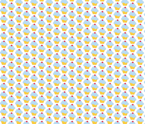 Blue Birthday Cupcake fabric by 13blackcatsdesigns on Spoonflower - custom fabric