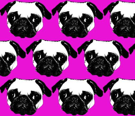 Pug in Fuchsia fabric by reistrangelove on Spoonflower - custom fabric