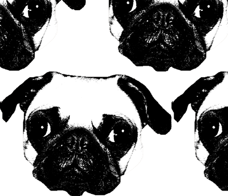 Pug in White fabric by reistrangelove on Spoonflower - custom fabric