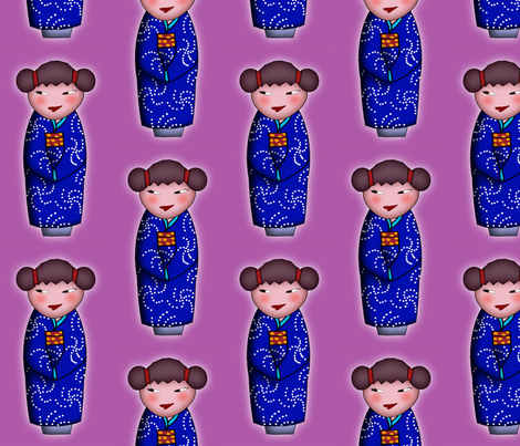 Cheeky Kokeshi fabric by leeleeandthebee on Spoonflower - custom fabric
