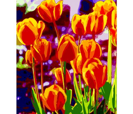 Tulip_Garden_Morning fabric by cabinpressstudio on Spoonflower - custom fabric