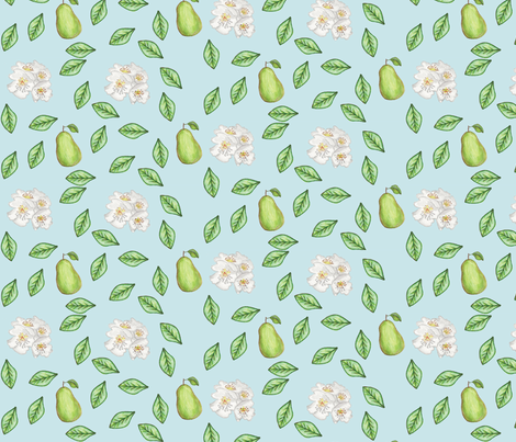 pears and blossoms fabric by babysisterrae on Spoonflower - custom fabric