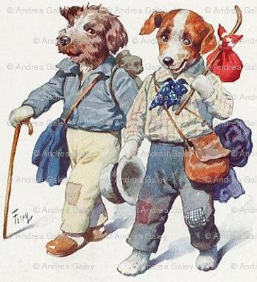 free-vintage-dog-art-two-hobo-dogs-walking