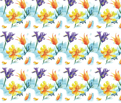 Tulips and Iris fabric by evamarion on Spoonflower - custom fabric