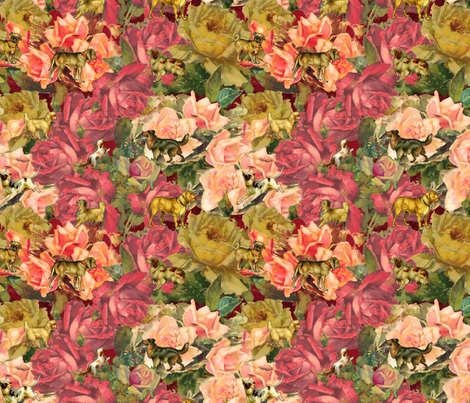 Dogs & Roses fabric by dentednj on Spoonflower - custom fabric