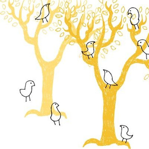 birds and trees yellow