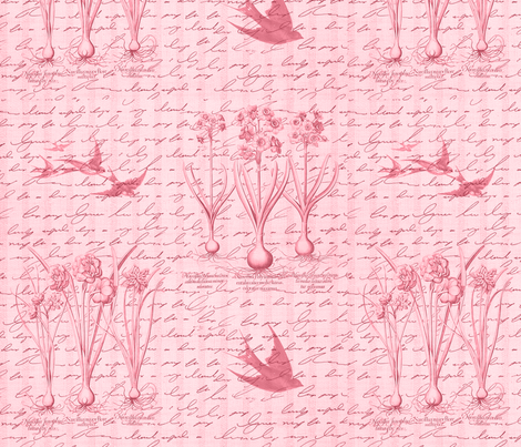 Garden & Swallows Red fabric by dentednj on Spoonflower - custom fabric