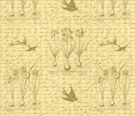Garden & Swallows fabric by dentednj on Spoonflower - custom fabric