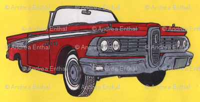 Red1959 Edsel Corsair Convertible with top down