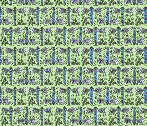 celtic dragonfly trio fabric by ingridthecrafty on Spoonflower - custom fabric