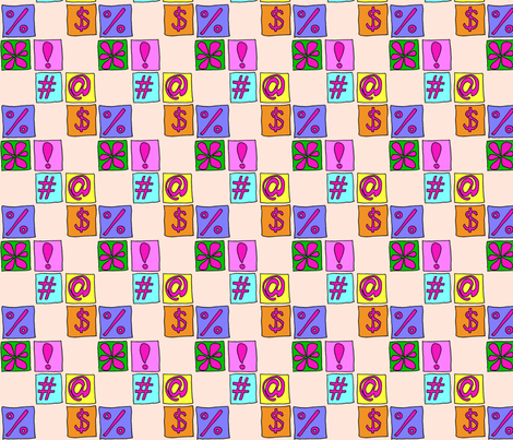 symbols_pink fabric by wiccked on Spoonflower - custom fabric