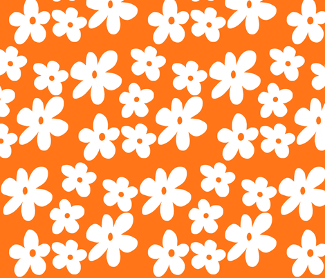 White flowers on orange background fabric by toni_elaine on Spoonflower - custom fabric