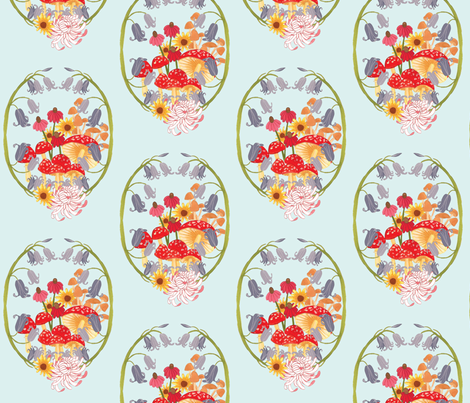 mushroom and flower cluster fabric by jordan_elise on Spoonflower - custom fabric