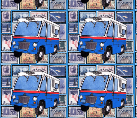US Post Office Studebaker Zip Van over 1960's stamps fabric by edsel2084 on Spoonflower - custom fabric