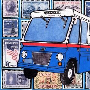 US Post Office Studebaker Zip Van over 1960's stamps
