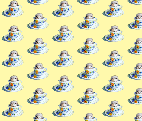 Hedgehog Tea In Yellow fabric by golders on Spoonflower - custom fabric