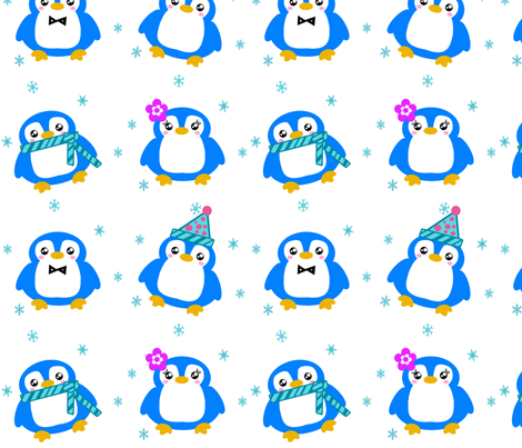 Winter Baby Penguins! - © PinkSodaPop 4ComputerHeaven.com fabric by pinksodapop on Spoonflower - custom fabric