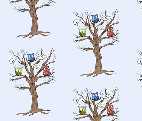 Owls in a Tree fabric by taraput on Spoonflower - custom fabric
