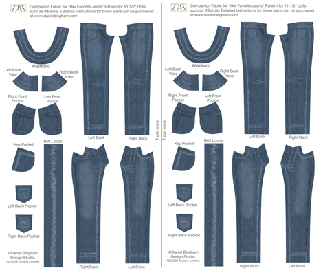 "Her Favorite Jeans 11 1/2"" doll (Barbie) fabric by danielbingham on Spoonflower - custom fabric"
