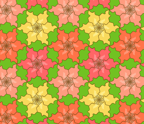 Hibiscus Tessellation fabric by sarahb on Spoonflower - custom fabric