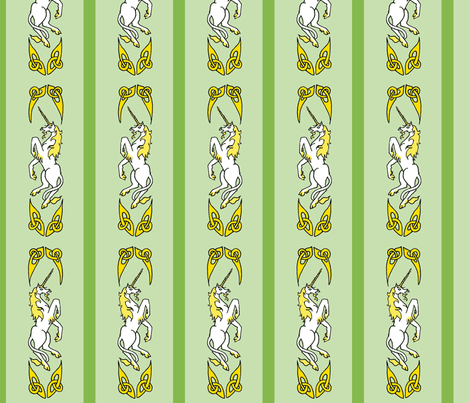 unicorn ribbon 1 green gold fabric by ingridthecrafty on Spoonflower - custom fabric