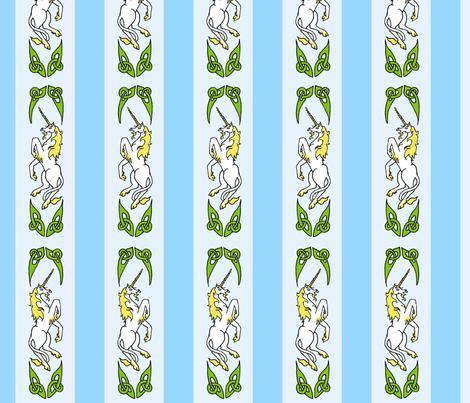 unicorn ribbon 1 blue fabric by ingridthecrafty on Spoonflower - custom fabric