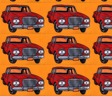 red Studebaker Lark (twin headlight era) on orange background) fabric by edsel2084 on Spoonflower - custom fabric