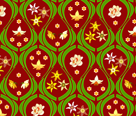 Garden_bordeaux fabric by andrea11 on Spoonflower - custom fabric
